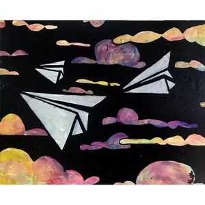 Wall Art - Signed original paper airplanes painting on canvas